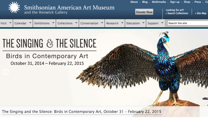 The Singing and the Silence: Birds in Contemporary Art, Exhibition at the Smithsonian American Art Museum.  Joann Brennan a featured artist.